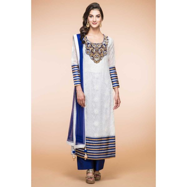 a8839b9fc0 Women White Net Trouser Suit With Dupatta - Indian & Pakistani White ...